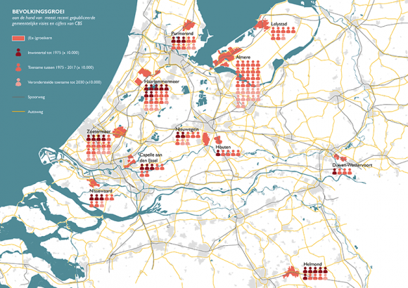 Population growth in the groeikernen in the Netherlands